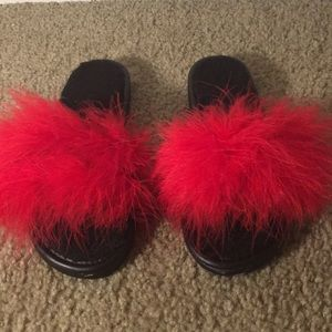 Shoes | Red Fluffy Slides | Poshmark